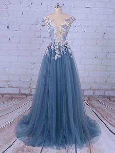 Long Prom Dresses, Sleeveless Prom Dresses, A-Line Party