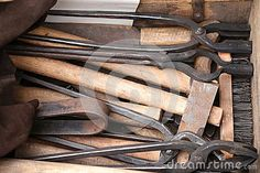 Photo about Blacksmith tools - iron clamps of different shapes. Image of craftsman, occupation, used - 73337502 Blacksmith Tools, Different Shapes, Blacksmithing, Craftsman, Objects, Iron, Stock Photos, Abstract, Image