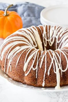 Hands down - the best pumpkin cake! This moist pumpkin bundt cake has a delicious pumpkin flavor, filled with warm spices, & topped with cream cheese glaze. Pumpkin Bundt Cake, Pumpkin Cake Recipes, Pumpkin Dessert, Glaze For Bundt Cake, Best Pumpkin, Pumpkin Spice, Vegan Pumpkin, Fall Desserts, Dessert Recipes