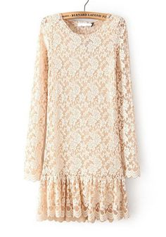 Beige Plain Pleated Long Sleeve Lace Mini Dress