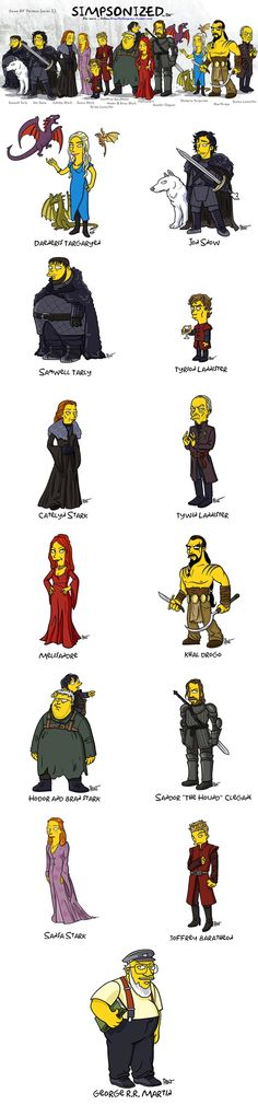"""Game of Thrones characters """"Simpsonized"""""""