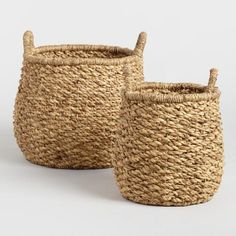 SHOP NOW: Hyacinth Margaux Tote Baskets. Ready to contain clutter in two convenient sizes, our sturdy round baskets are crafted of natural water hyacinth with a twisted, chunky weave and loop handles.