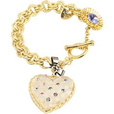 Betsey Johnson Tzarina Clear Heart Ribbon Chain Bracelet