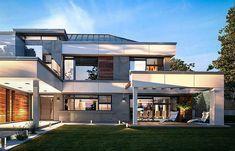 Projekt domu Willa Floryda 4 327,82 m2 - koszt budowy - EXTRADOM Storage Places, Mansions, Architecture, House Styles, Outdoor Decor, Home Decor, Arquitetura, Decoration Home, Manor Houses