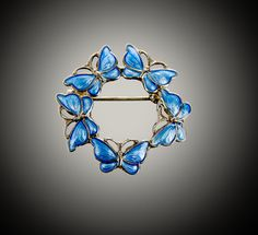 signed Volmer Behner enameled sterling blue butterfly circle brooch by SearchEndsHere on Etsy