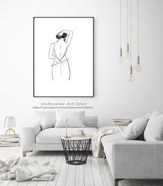 Figure Woman Study, Black and White Minimalist Art, Watercolor Ink, Valentines Day Gift, Home Decor Watercolor Painting Printable Wall Art. Minimalist Painting, Minimalist Art, Watercolor And Ink, Watercolor Paintings, Original Artwork, Original Paintings, Fine Art Prints, Canvas Prints, Gloss Matte