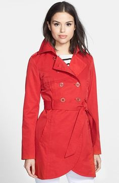 $129, Red Trenchcoat: GUESS Cutaway Front Trench Coat. Sold by Nordstrom. Click for more info: https://lookastic.com/women/shop_items/188400/redirect