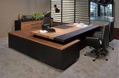 Modern Office Table, Wood Office Desk, Office Table Design, Office Furniture Design, Workspace Design, Home Office Space, Home Office Design, Business Office Decor, Corporate Office Design