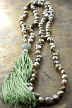 Sage green pearl mala beads with a fabulous pure silk tassel at The Pillow Book