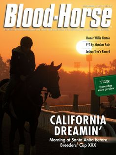 November 2, 2013 Issue 43 Cover of Blood-Horse California Dreamin' Morning at Santa Anita before Breeders' Cup XXX © Blood-Horse