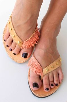 Coral flip flopsLeather sandals with studs by lizaslittlethings, $60.00