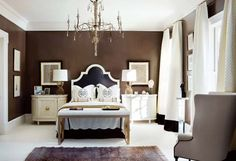 Gonna paint the bedroom this color. Looks great with the white crown moulding.