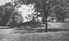 Burial mound in Henry County, Indiana surrounded by a deep ditch and outer earthen wall before being destroyed by Ball State University Archaeologists