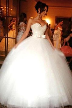 Ball Gown Bowknot Sweetheart Tulle Wedding Dresses Strapless Wedding Gowns, SJS, This dress could be custom made, there are no extra cost to do custom size and color. Wedding Dress Train, Sweetheart Wedding Dress, Long Wedding Dresses, Tulle Wedding, Cheap Wedding Dress, Bridal Dresses, Ivory Wedding, Luxury Wedding, Modest Wedding