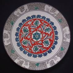 Iznik Six flowers plate, dia 34 cm