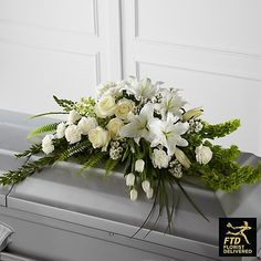 Order The Resurrection™ Casket Spray flower arrangements from All Flowered Up Too, your local Lubbock, TX florist. Send The Resurrection™ Casket Spray floral arrangement throughout Lubbock and surrounding areas. Arte Floral, Deco Floral, Arrangements Funéraires, Funeral Floral Arrangements, Church Flowers, Funeral Flowers, Flowers For Men, Send Flowers, Casket Flowers