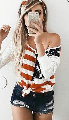 #summer #trending #outfitideas |  4th Of July + Black Shorts