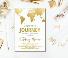 travel bridal shower invitation love is a journey gold world map invitation adventure awaits