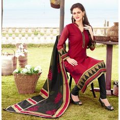 Ethnic Wear Readymade Red Salwar Suit - 79823