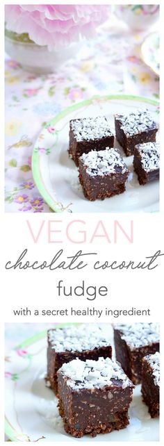 This vegan chocolate coconut fudge is rich and chocolate-y and contains a secret ingredient that increases its fibre and protein content. It's also lower in sugar than your typical fudge so it makes a great healthier dessert or snack | Nut-free, gluten free, dairy-free & vegan | Haute & Healthy Living