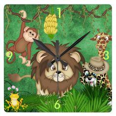 Jungle Safari Wall Clock Kids Room