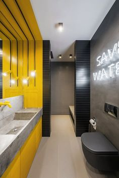 YoDezeen architects has completed interior design for a 430 sqm apartment centrally located in Kiev. Restroom Design, Modern Bathroom Design, Bathroom Interior Design, Restaurant Bathroom, Blue Bedroom Walls, Gym Interior, Bedroom Wall Designs, Public Bathrooms, Loft Interiors