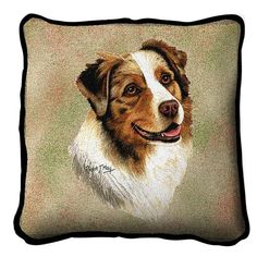 Australian Shepherd Dog Portrait Pillow