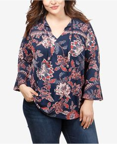 a17c47831fe Lucky Brand Trendy Plus Size Printed Bell-Sleeve Top   Reviews - Tops - Plus  Sizes - Macy s