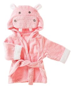Blossoms & Buds Pink Hippo Terry Cloth Bath Robe - Infant | zulily