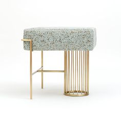 bina baitel designs jewelry-like furniture using brass, pink marble and terrazzo fabric