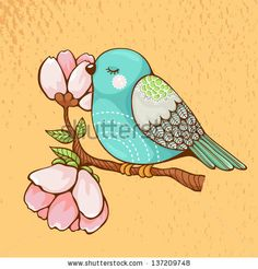 Thank You Card On Blurred Soft Spring Background. - 174103484 : Shutterstock Thank You Card On Blurred Soft Spring Background. Painting Patterns, Fabric Painting, Painting & Drawing, Bird Drawings, Easy Drawings, Spring Images, Bird Quilt, Bird Illustration, Little Birds