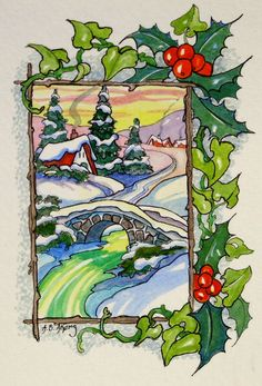 Alida Akers' Storybook Cottage Series - A Holly Jolly Morning Art Drawings For Kids, Kids Artwork, Doodle Drawings, Vintage Christmas Cards, Retro Christmas, Christmas Colors, Storybook Cottage, Cottage Art, Painted Cottage
