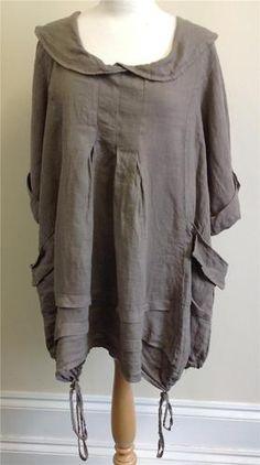 Lagenlook Clothing XL Diverse Italian 100% Linen Cowl Neck Tunic Dress MOCHA | eBay