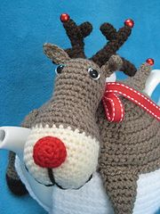 Ravelry: Teacosy Rudolph the red nosed reindeer Tea Cozy Cosy Christmas Festive pattern by Millionbells