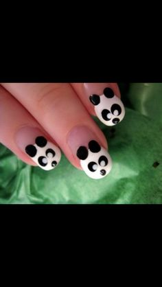 If you are a panda lover, then you would love this cute panda nail idea!