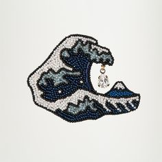 ビーズな世界・・・小林モー子/浮世絵ブローチ・葛飾北斎「富嶽三十六景 神奈川沖浪裏」。