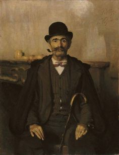 Portrait of Signor Giuseppe Giani, 1891 by Giuseppe Pellizza da Volpedo (Italian 1868-1907)....the ribbed waiscoat looks as if it is knitted.....strong and straightforward....like this....