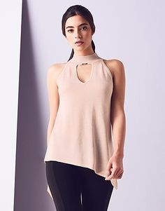 Womens shell pink asymmetric high neck vest from Lipsy - £35 at ClothingByColour.com