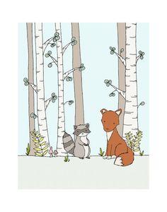 Woodland Nursery Fox Nursery Art  by SweetMelodyDesigns on Etsy, $10.00