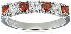 Rhodium Plated Sterling Silver Red and White Cubic Zirconia 3mm Alternating Half Circle Ring 07 cttw Size 6 *** Check out the image by visiting the link.