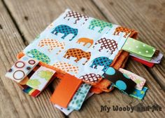 Ribbon Sensory Minky Baby Blanket in Urban Elephants - You Choose Colors - Personalization INCLUDED - Several Sizes on Etsy, $25.99