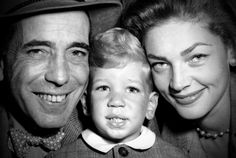 Humphrey Bogart, son Stephen, and Lauren Bacall