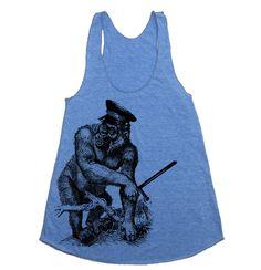 Womens Wild Gorilla Cop Tri-Blend Racerback Tank - american apparel tanktop shirt - XS, S, M, and L (9 Color Options). $20.00, via Etsy.