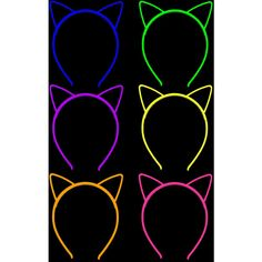 Glow in the Dark Neon Cat Plastic Headbands | Skinny Bitch Apparel,... ($10) ❤ liked on Polyvore featuring accessories, hair accessories, head wrap headband, head wrap hair accessories, neon headband, hair bands accessories and cat headband