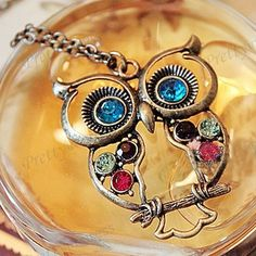 Vintage Colorful Cute Owl Carved Hollow Chain Necklace