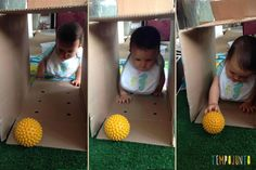 Just turn the box and put a ball so she can become more interested. Infant Activities, Activities For Kids, Baby Toys, Kids Toys, Teaching Babies, Baby Sense, Baby Club, Baby Art, Happy Kids