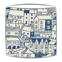 St ives lampshade made in Sanderson St Ives fabric. Available for ceiling pendants & lamps. Retro lampshades in Sanderson 50s print fabrics. Made to order by Shady Lady lampshades