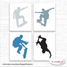 Skateboarder Prints for Teen Bedroom or Retreat. by HappyPlaceArt Skateboard Bedroom, Skateboard Decor, Skateboard Party, Skateboard Pictures, Blue Bedroom Paint, Blue Teen Girl Bedroom, Boys Bedroom Decor, Teen Girl Bedrooms, Kids Office