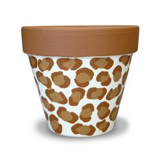 Caramel Leopard Painted Flower Pot Planter For Your Home Decor - 4-inch
