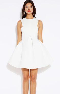 White O-neck Sleeveless Fluffy Hem Party Dress